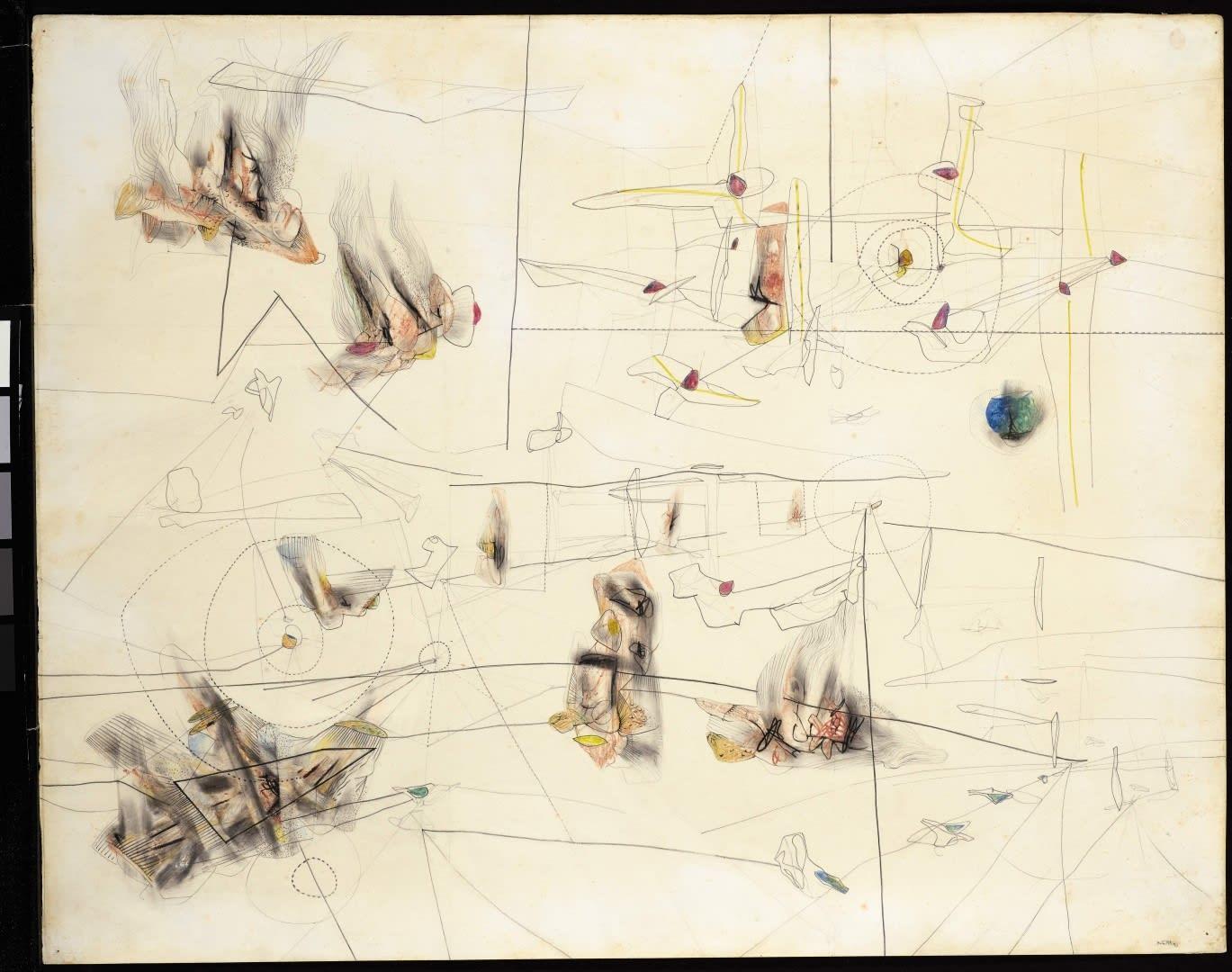 Roberto Matta Sans titre Graphite et crayon de couleur sur papier 59 x 73,8 cm 23 1/4 x 29 in.