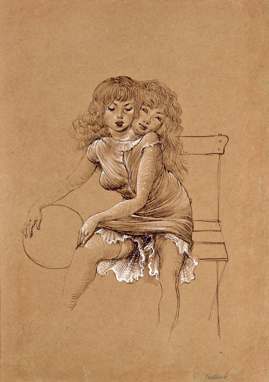 Hans Bellmer Sans titre crayon et gouache sur papier 33 x 25,5 cm (disponible) 33 x 25,5 cm (available)