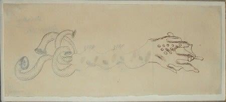 Collectif Cadavre exquis Dessin à l'encre et crayons de couleur sur papier 9 x 21,1 cm 3 1/2 x 8 1/4