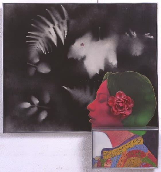 Martial Raysse Renée-Claire aérographe, collage et huile sur toile 68 x 65 cm