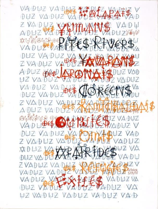 Jacques Villeglé Vaduz crayon de couleur sur papier 65 x 50 cm