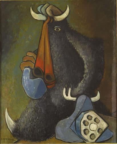 Oscar Dominguez Taureau téléphone Huile sur toile 46 x 38,5 cm