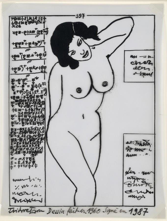 Isidore Isou Initiation à la haute volupté 397 encre de Chine sur papier calque 17,8 x 13,7 cm