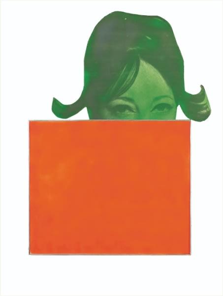Martial Raysse La France orange huile sur toile et sérigraphie sur bois découpé 82 x 63 x 2 cm