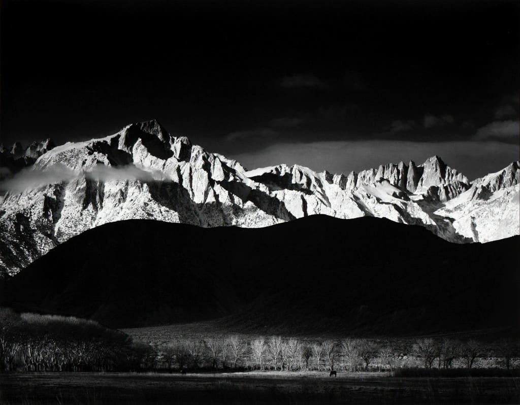 Ansel Adams, Winter Sunrise, Sierra Nevada from Lone Pine, CA, 1944 (Printed 1970's)