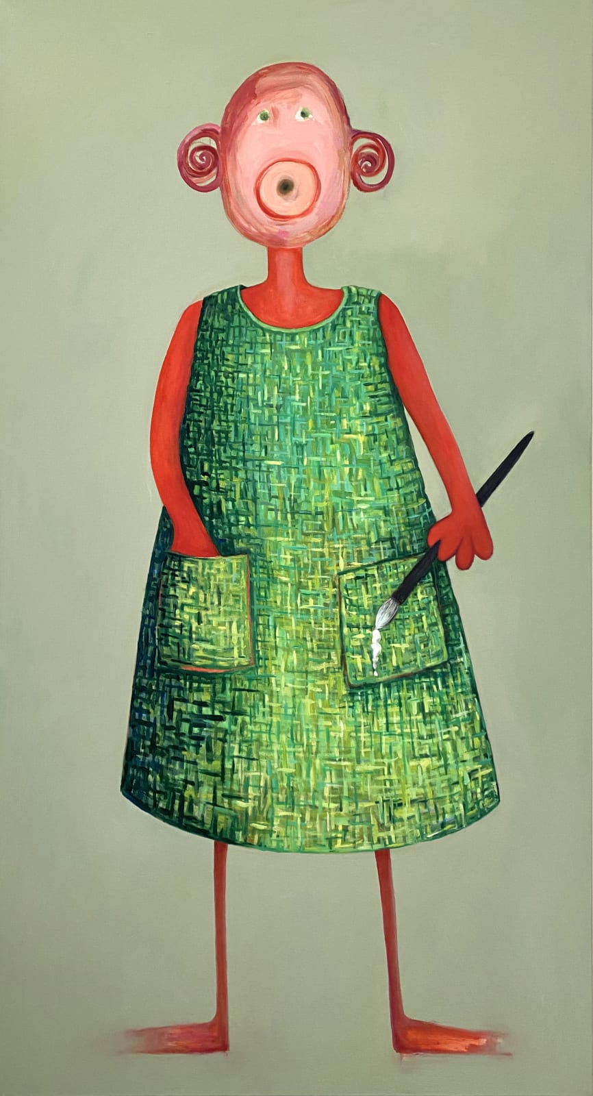 Laura Hudson, On a Green Day She Wears Her Felt Dress.