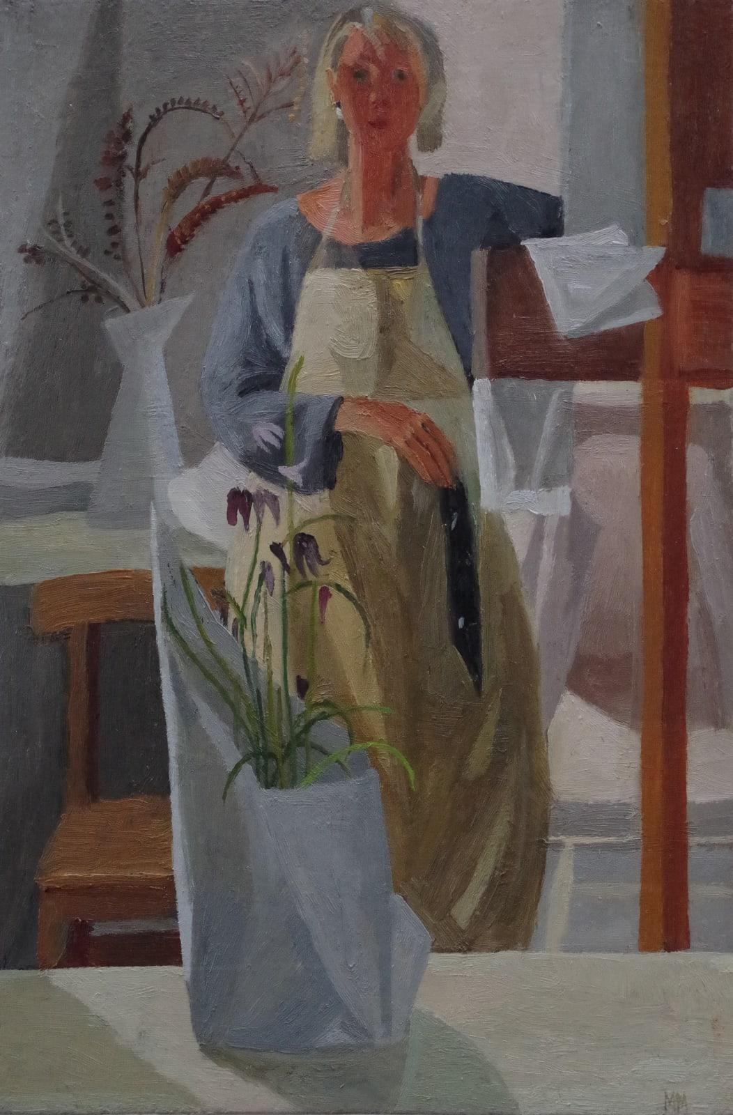 Mary Mabbutt, Self Portrait Holding Black Paint Rag