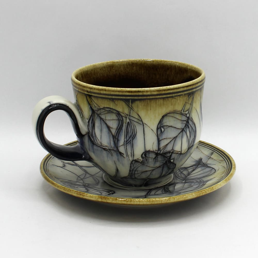 Dawn Candy, White Leaf Cup and Saucer Set, 2020
