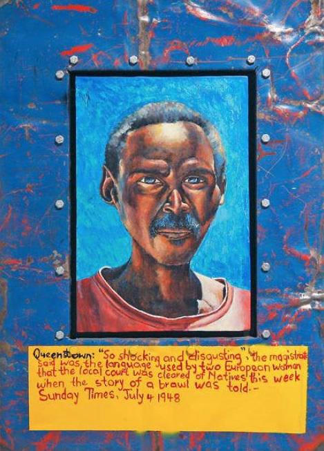 Dr Willie Bester, Man with Blue Background, 2008