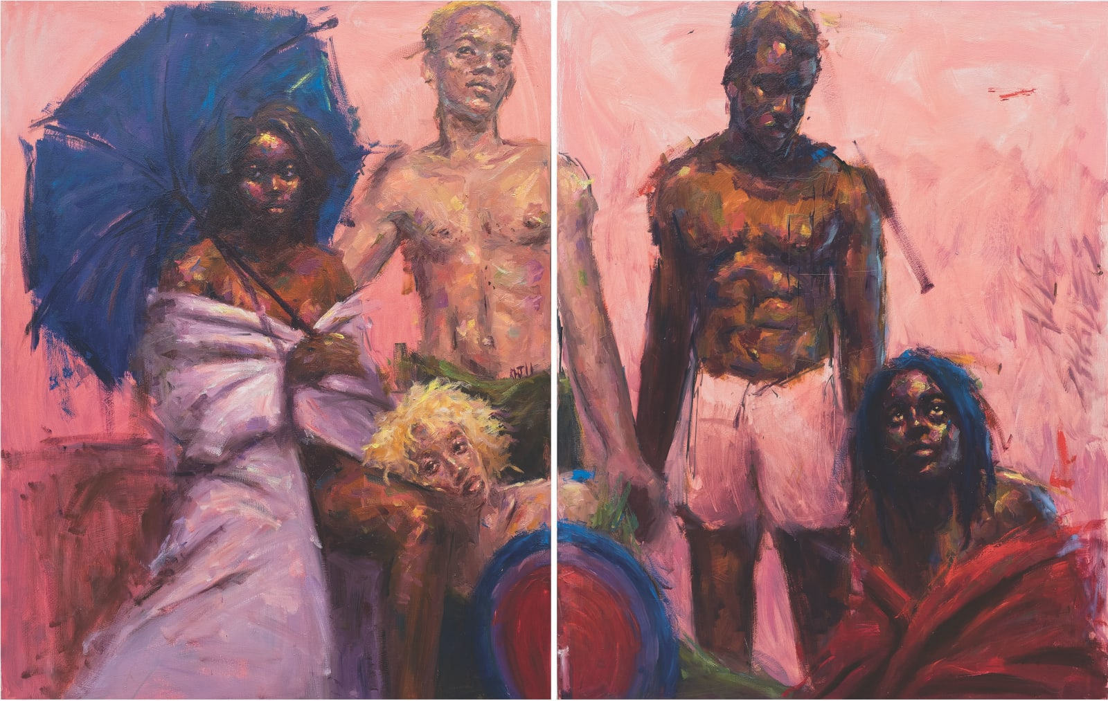 Chigozie Obi, Shades of Black V, Diptych, 2020