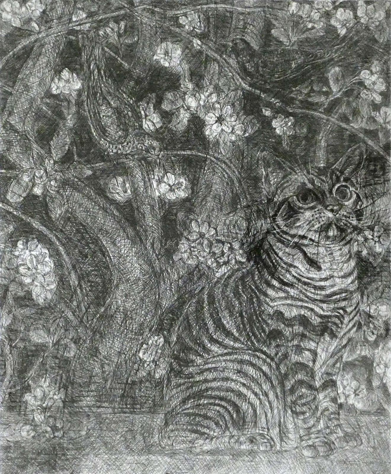 Leonard Mccomb, Cat, Blossoming, Apple Tree, Black Bird and Thrush, 2005