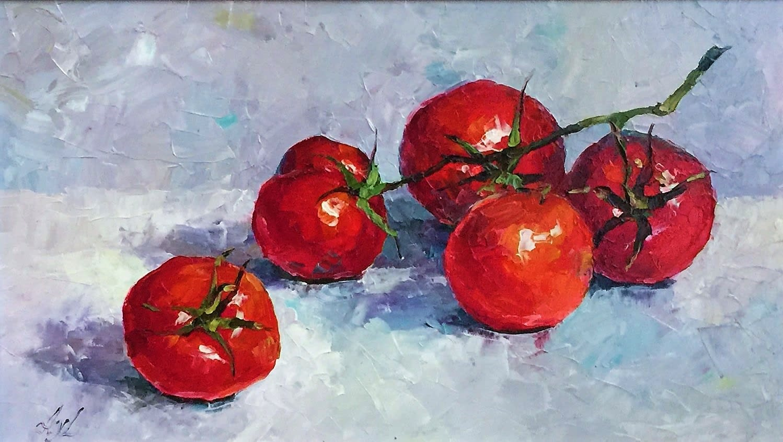 Lana Okiro, Still Life with Vine Tomatoes