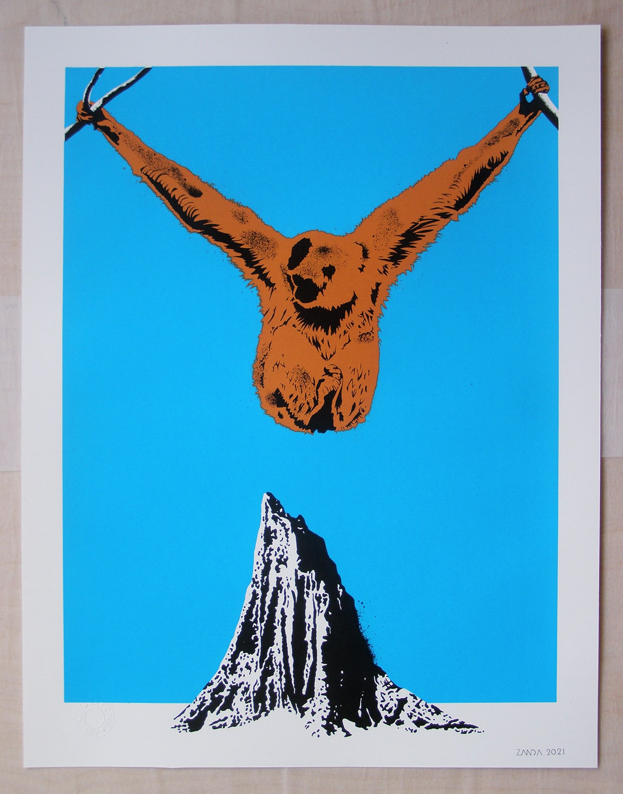 Alex Zanda, Hanging on Print After a year of sustained stamina in the face of unrelenting challenges, this unsettling print seems to talk to contemporary conditions and a national mood.