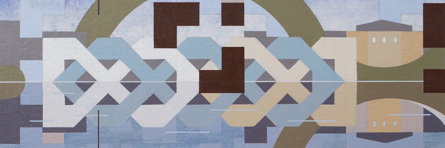 Michael Garaway, Holybrook Knot Painting This painting combines geometric abstraction with representation of a local landmark in a way that feels like a bold and distinctive artistic practice.