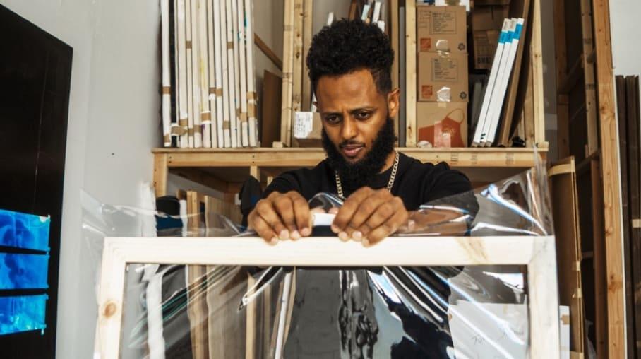 Tariku Shiferaw at his studio in NY. Photograph by Nagil Johnson