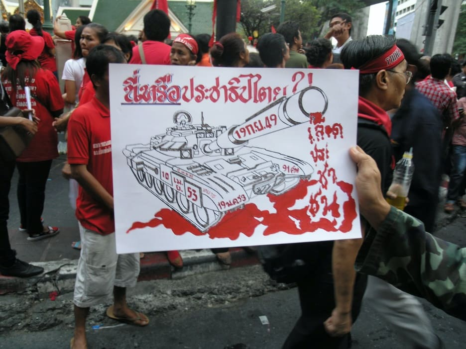 Sign at a Red Shirt protest in Ratchaprasong reading: 'Democracy?'
