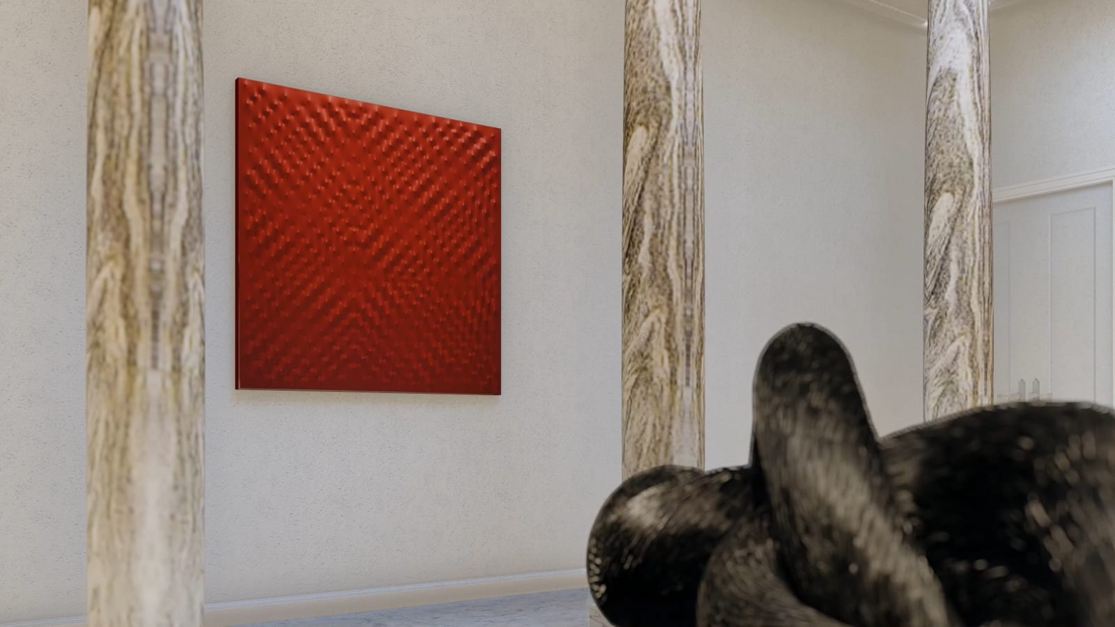 ENRICO CASTELLANI Superficie Rossa, 2007 150 x150 cm