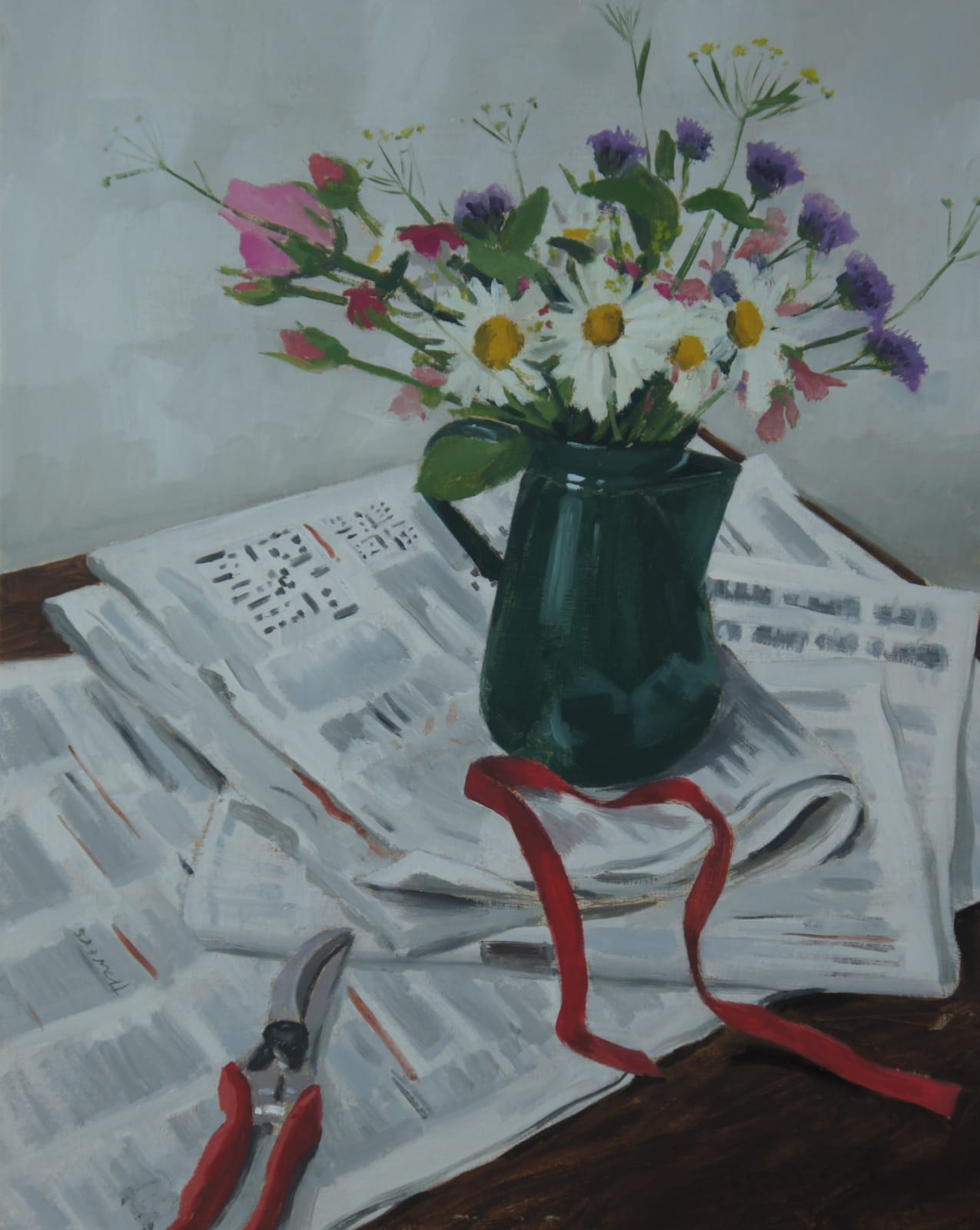 Sam Travers, Flowers in Coffee Jug, 2018