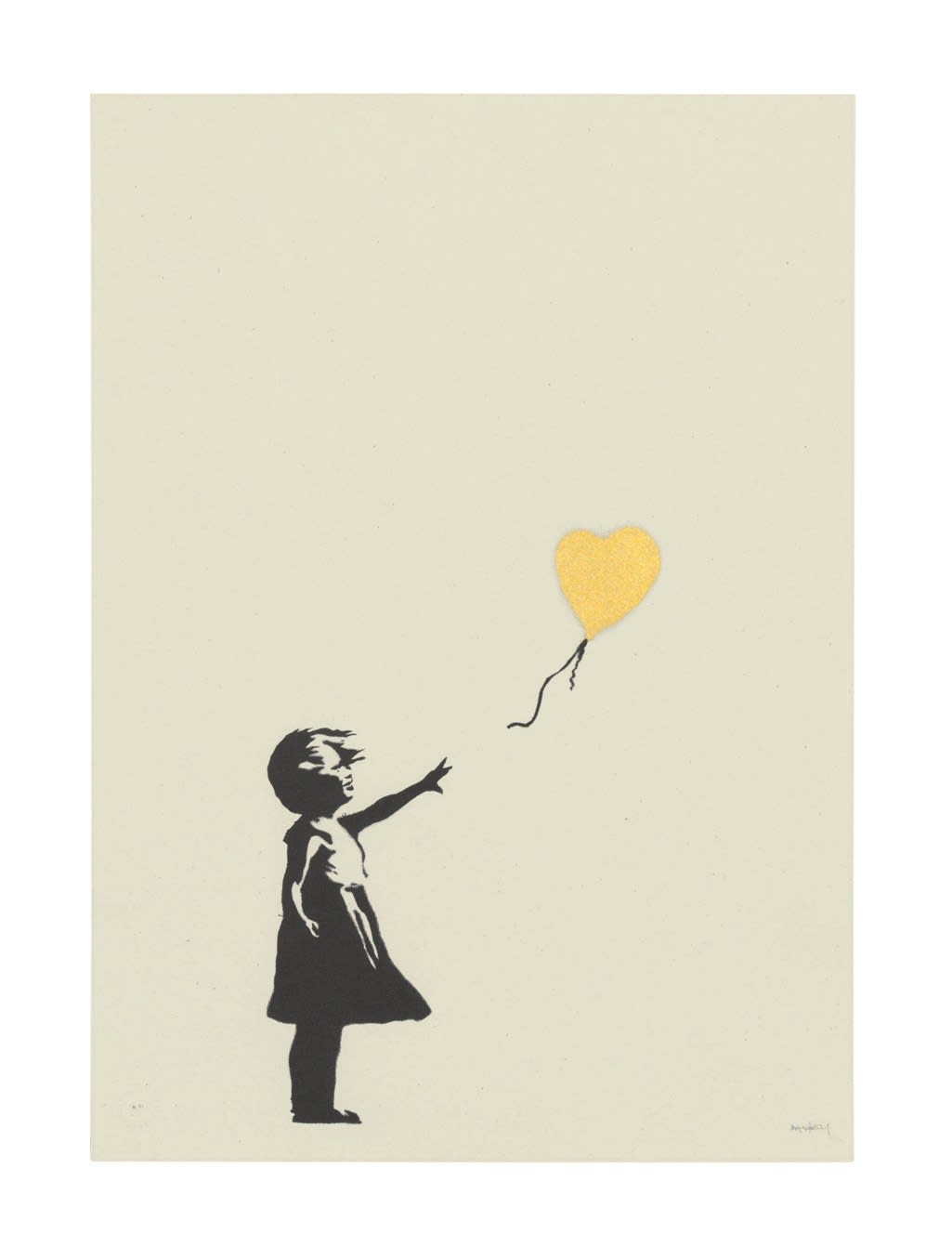 Girl with Balloon - Colour AP (Gold)., 2004 Screen print Signed 70 x 50 cm Edition of 88 Framed Pest Control COA Excellent Condition