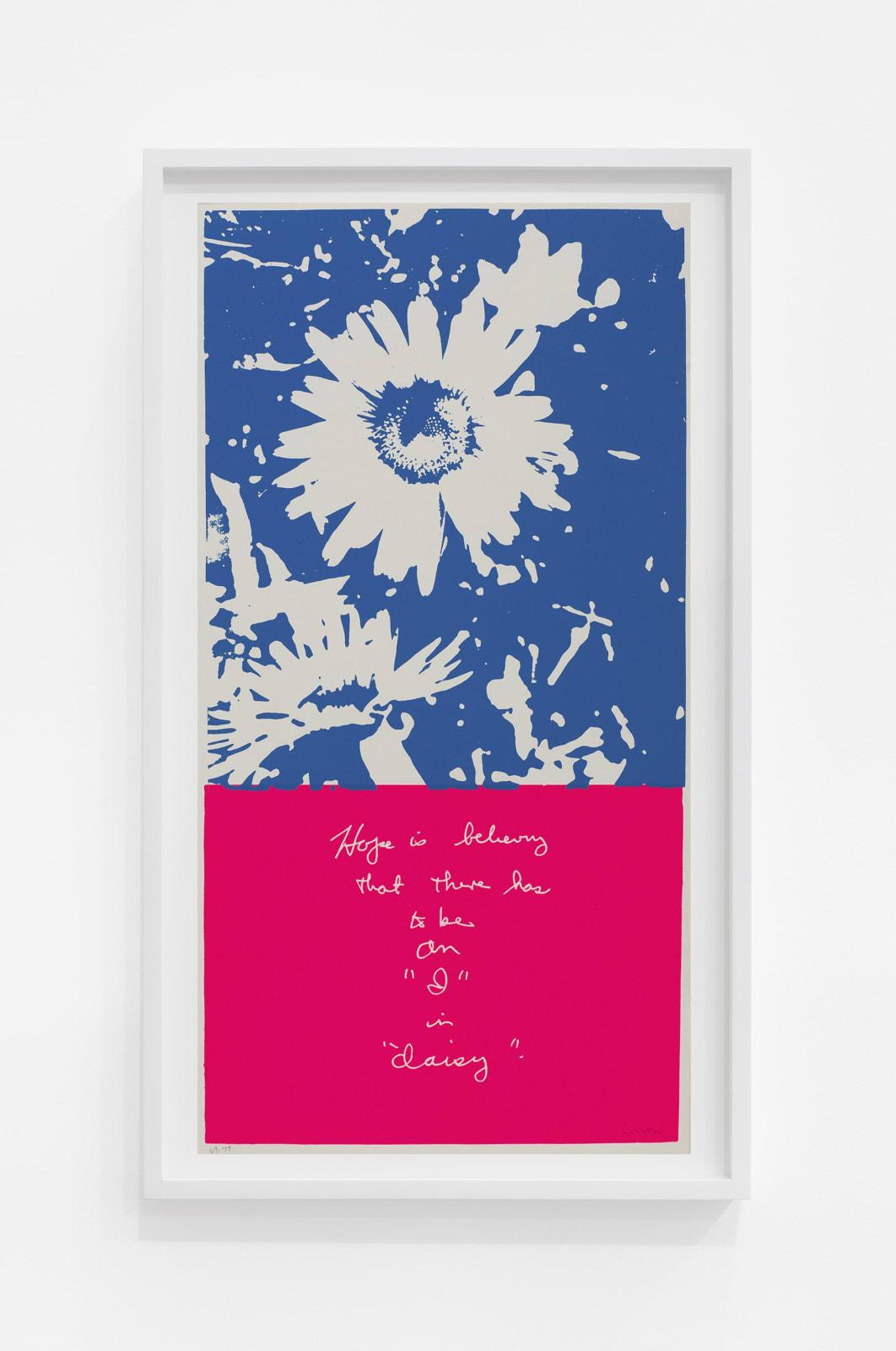 Corita Kent i in daisy , 1969 Screenprint 23 x 12 in (58.4 x 30.5 cm) $4,800.00