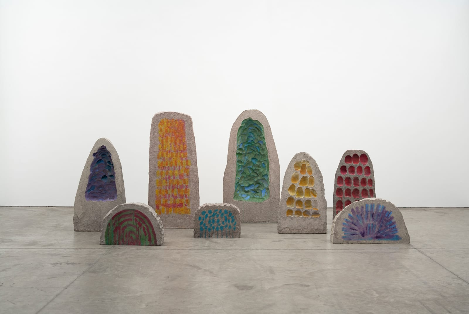 Erika Verzutti Mineral, 2019 Papier-mâché, polystyrene, steel, and oil 8 pieces, overall dimensions: 201 1/2 x 86 5/8 x 100 13/16 in (512 x 220 x 256 cm)