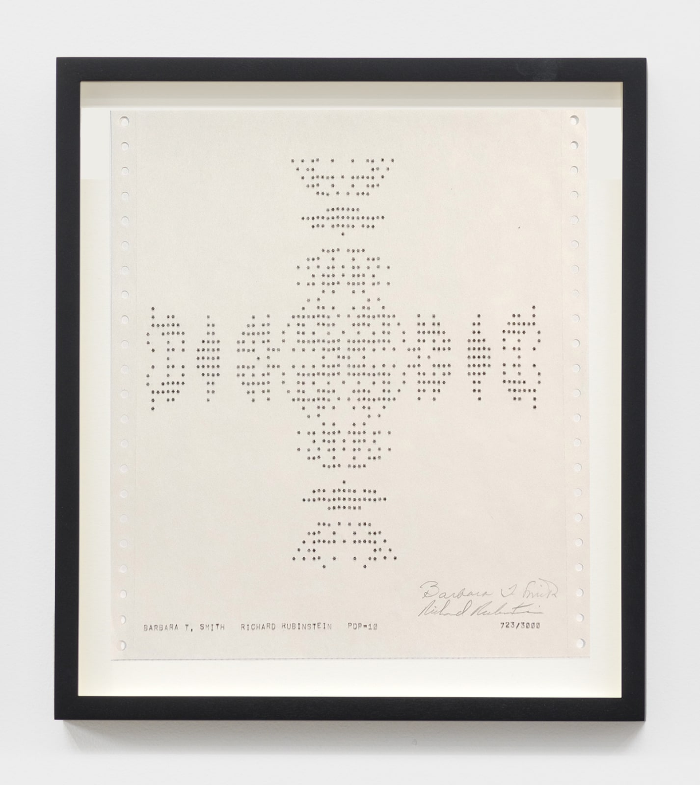 Barbara T. Smith Snowflake, 1975 PDP10 computer print on white sprocketed gate folded paper 11 x 9 1/2 in (27.9 x 24.1 cm) $5,000
