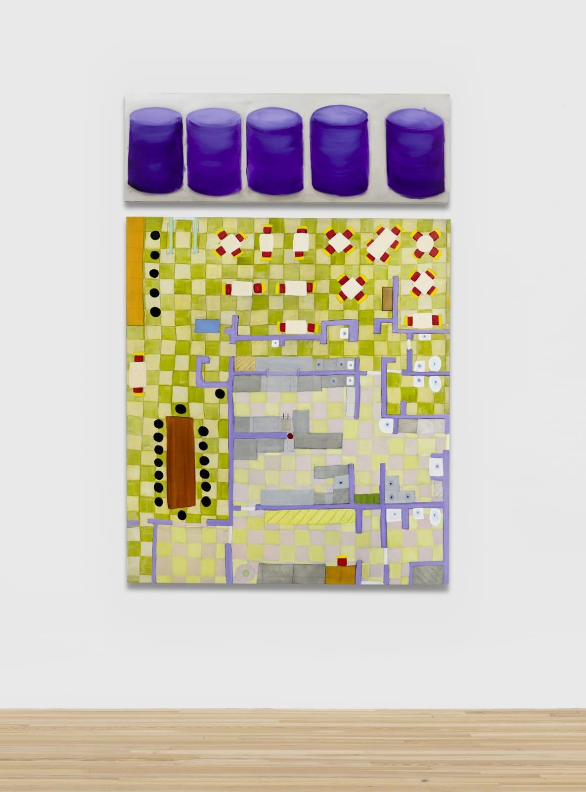Kim Dingle Purple Ottomans - Restaurant Mandala, 2012/2020 Oil on canvas Diptych: 86 x 60 in (218.4 x 152.4 cm) overall