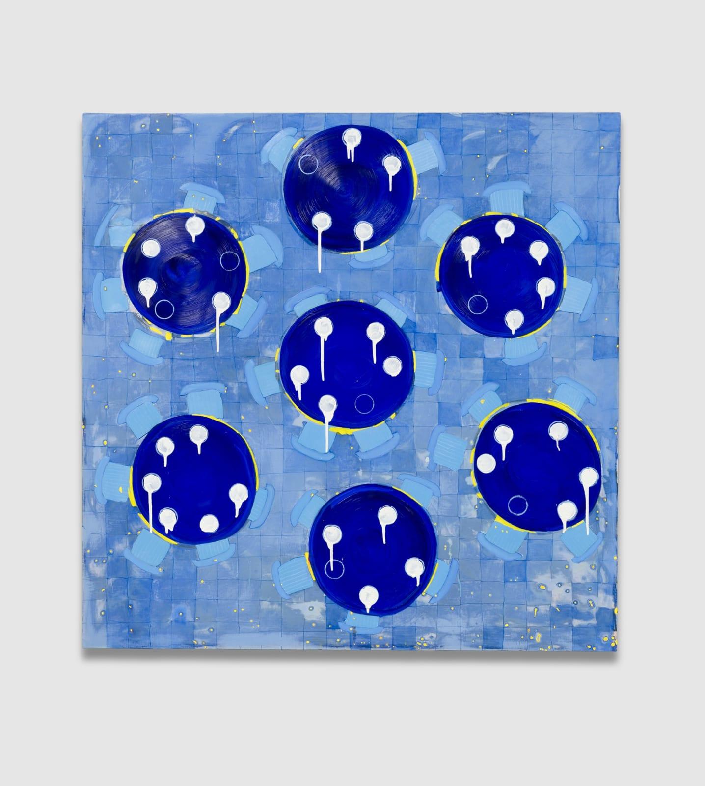 Kim Dingle Help Wanted - Restaurant Mandala, 2012/2020 Oil on canvas 48 x 48 in (121.9 x 121.9 cm)