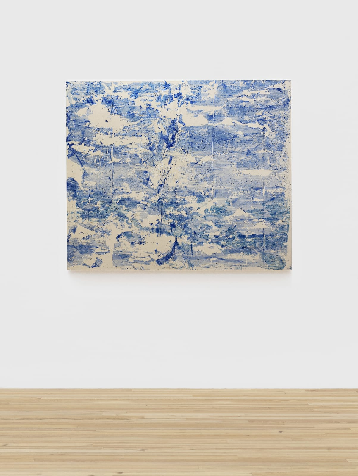 Padraig Timoney Untitled (Blue), 2019 Acrylic and rabbitskin glue on canvas 54 1/8 x 64 1/8 x 1 1/2 in (137.5 x 162.9 x 3.8 cm)