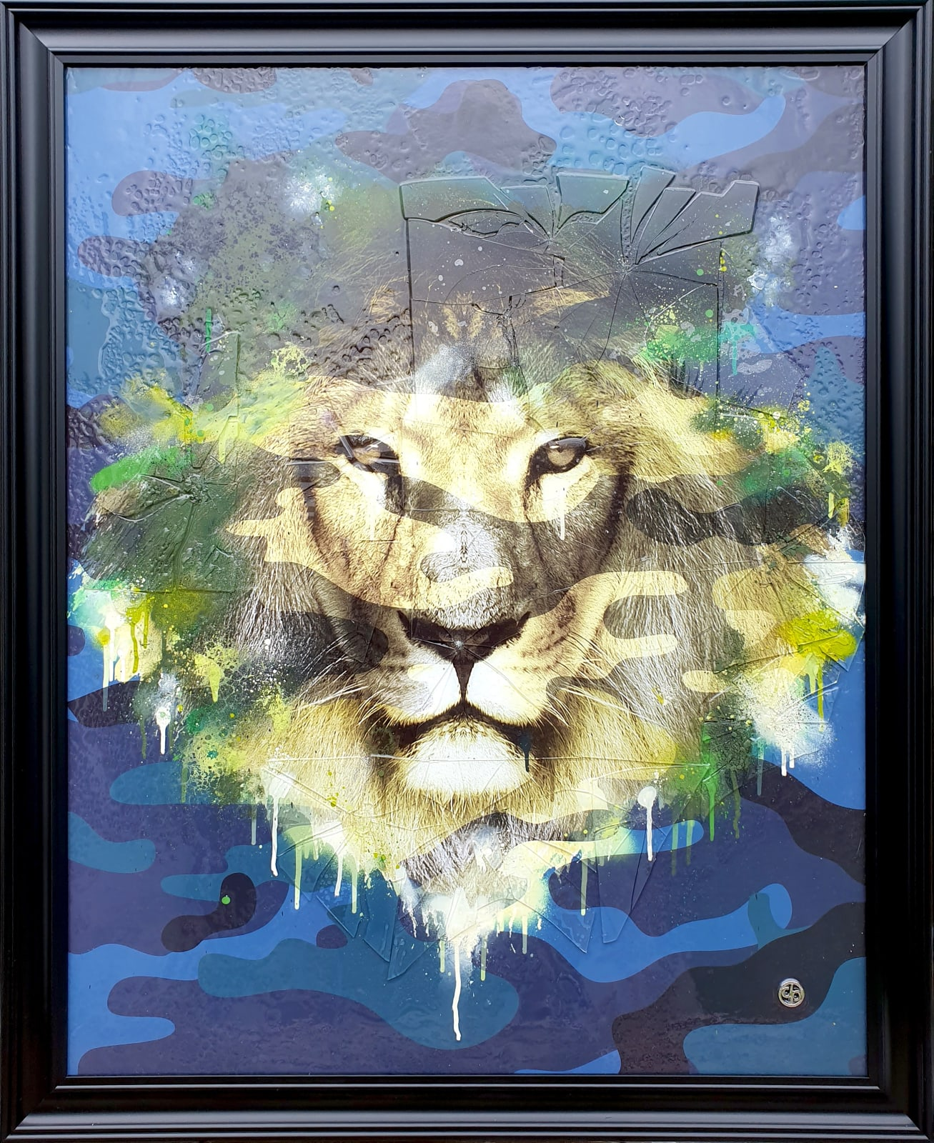 """Dan Pearce  Title: Fearless (camo blue)  Size: 30"""" x 39""""  Price: £1,850 (Framed)"""