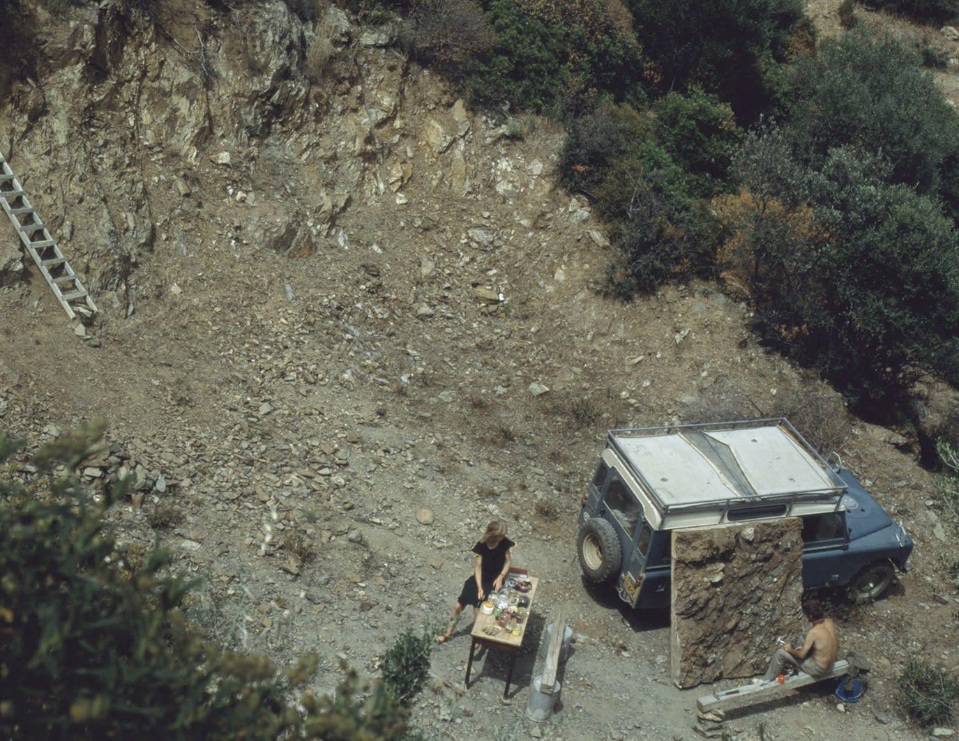 Joan Hills and Mark Boyle, Sardinia (World Series site), 1978.
