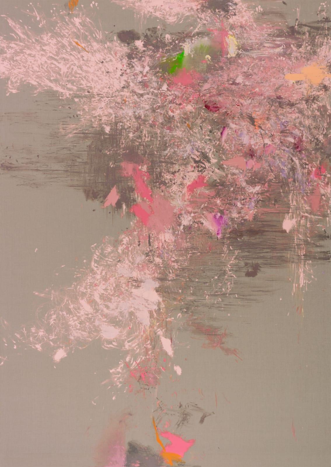 Omus Kathara, (EINE TASSE IM GARTEN VON MONET), 2020 Acrylic and lacquer on Belgian linen 443 x 314 x 4.5 cm | 174 1/2 x 123 2/3 x 1 3/4 in
