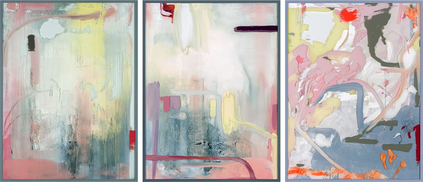 SS Shelley, 2019/2020 3 parts work, acrylic and lacquer on glass Rotterdam: 165.5 x 125 x 6 cm | 65 x 49 1/4 x 2 1/3 in Ellis Island (Arshile Gorky): 165.5 x 125 x 6 cm | 65 x 49 1/4 x 2 1/3 in East Hampton: 165.5 x 125 x 6 cm | 65 x 49 1/4 x 2 1/3 in