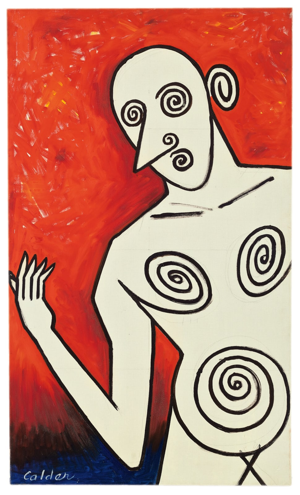Alexander Calder Lady Composed of Spirals 1950 oil on canvas 42 x 25 1/4 inches 106.7 x 64.1 cm © Calder Foundation