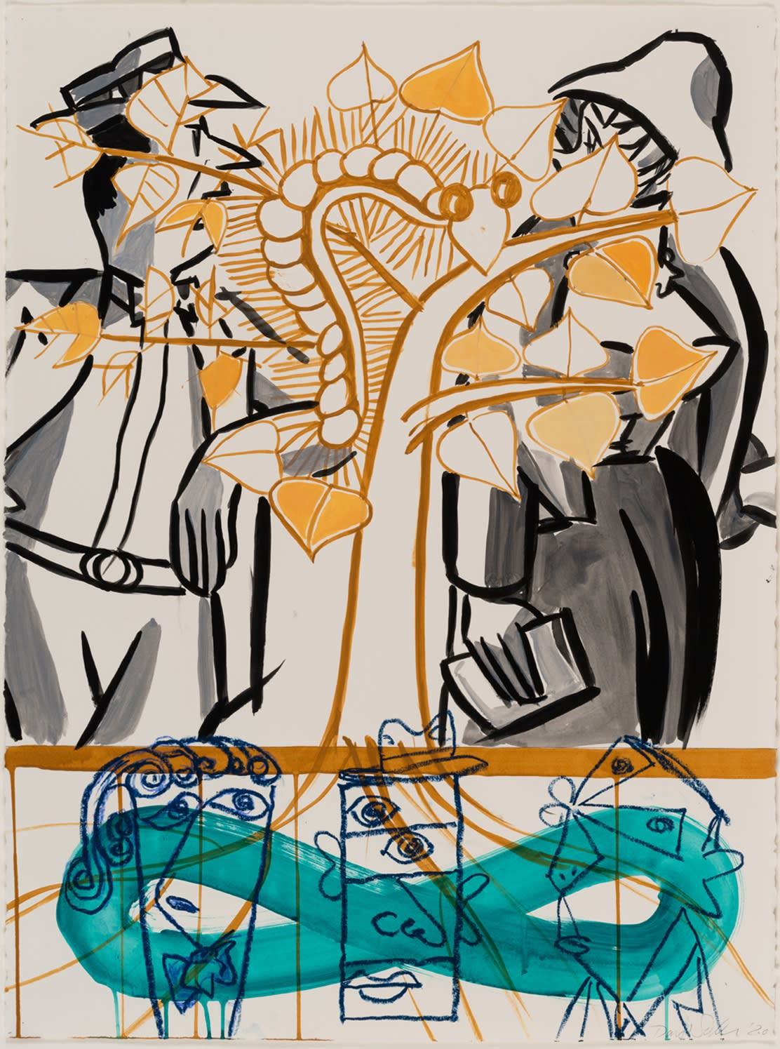David Salle Untitled 2020 ink, acrylic and oil bar on paper 30 1/8 x 22 1/2 inches 76.5 x 57.2 cm More Info