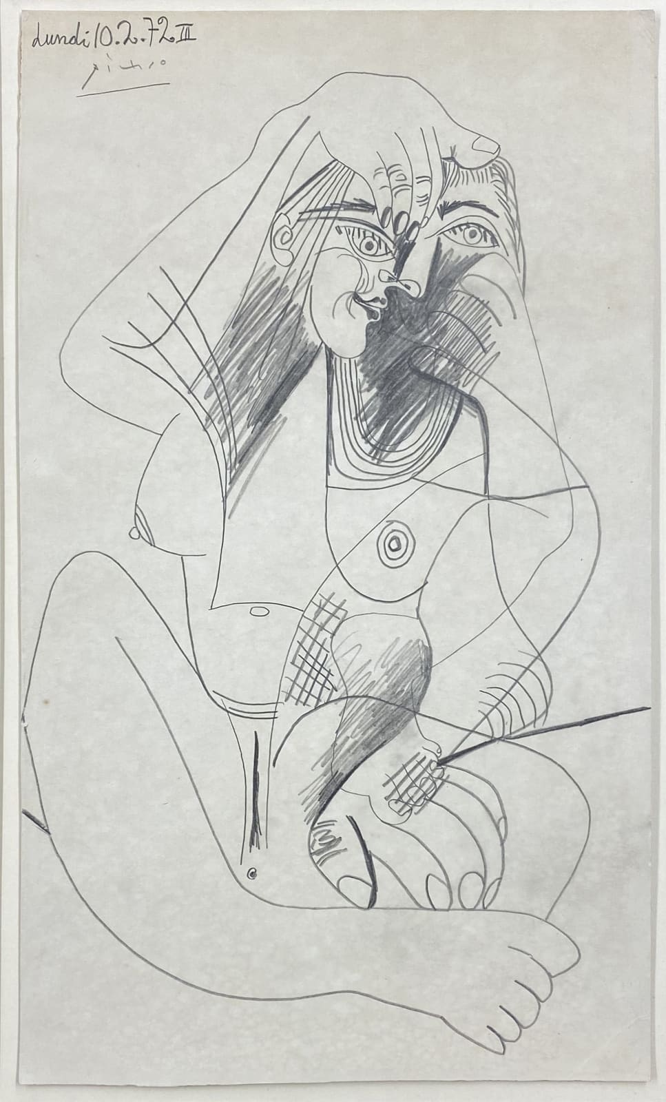 Pablo Picasso Nu assis 1972 drawing on cardboard 18 x 10 5/8 inches 45.7 x 27 cm