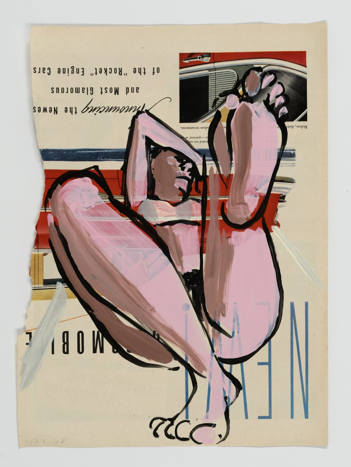 David Salle Untitled, 2 2018 flashe on paper 14 x 10 1/2 inches 35.6 x 26.7 cm