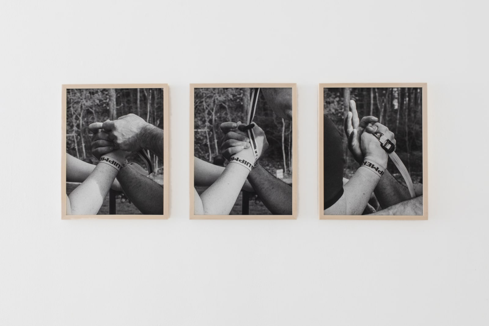 Max Gavrich Untitled (Armbenders Strap), 2021 Archival pigment prints in ash frames each: 14 x 18 inches overall: 18 x 40 inches edition of 5 + 2 AP