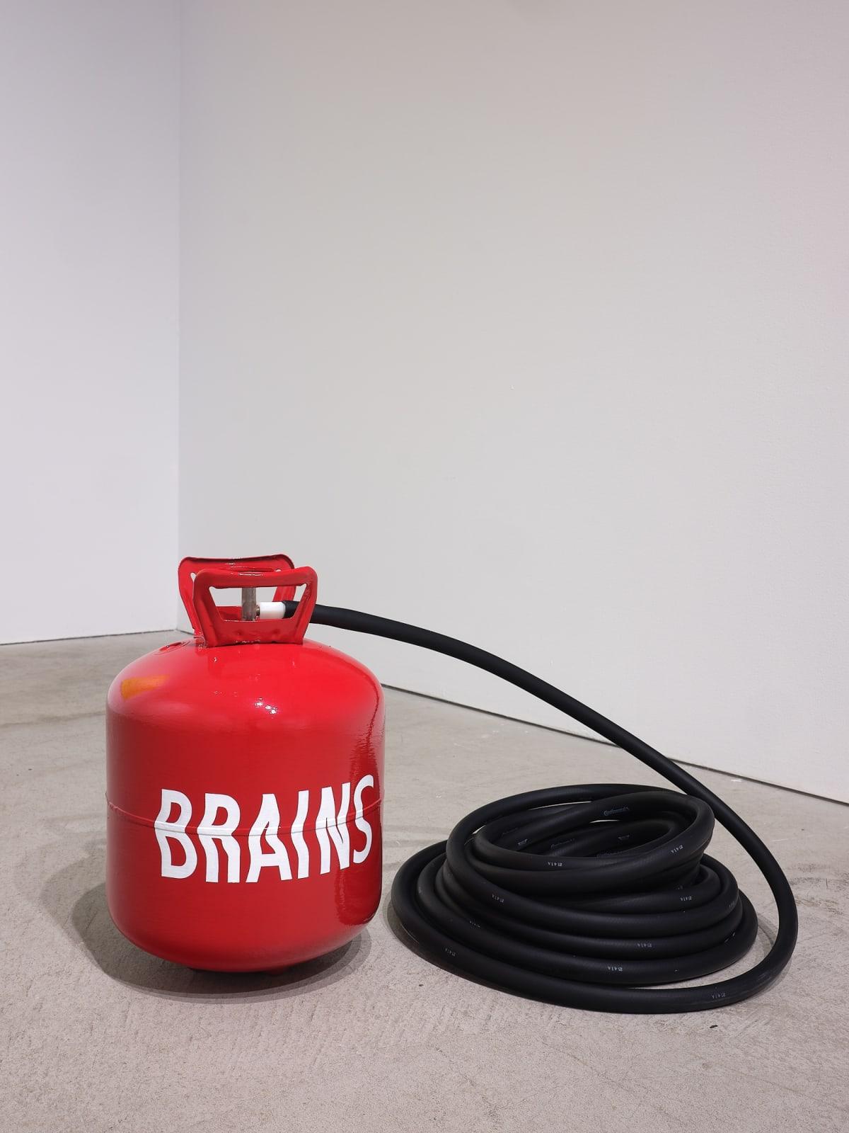 Lindsey White Tank O' Brains, 2021 aluminum, enamel paint, rubber dimensions variable unique