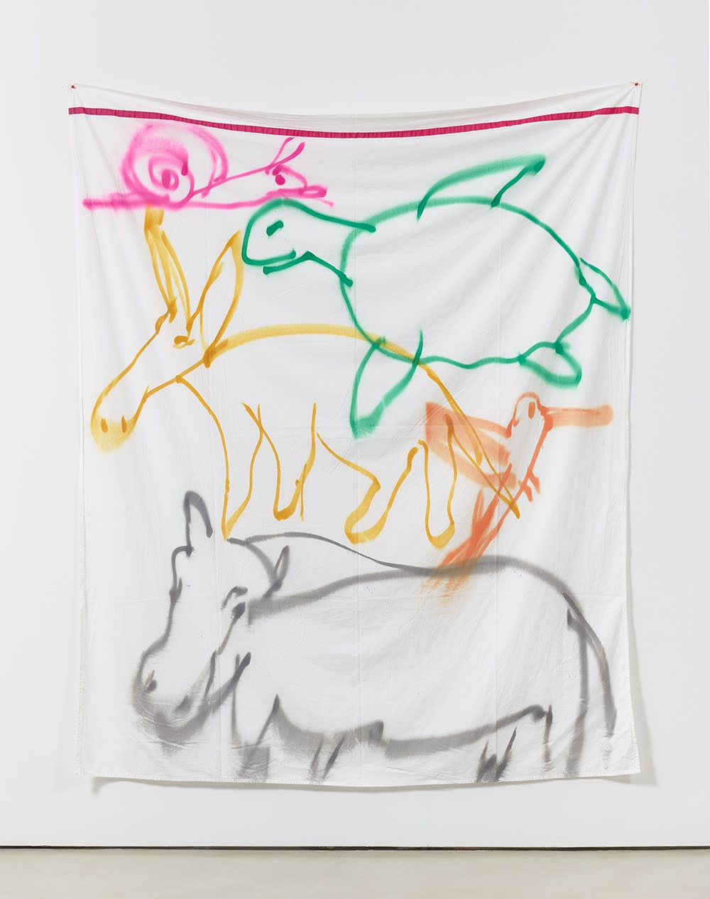 Polly Apfelbaum, Stacked Animals, 2016 bed sheet, ribbon, fabric, spray paint, 104 x 81 in
