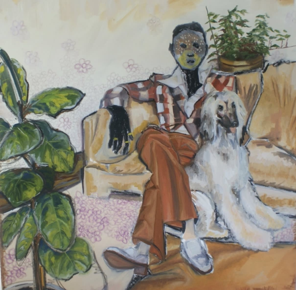 Alexis Pye, Individual with Dog, 2020 oil and pastels on primed stretched canvas, 48 x 48 in
