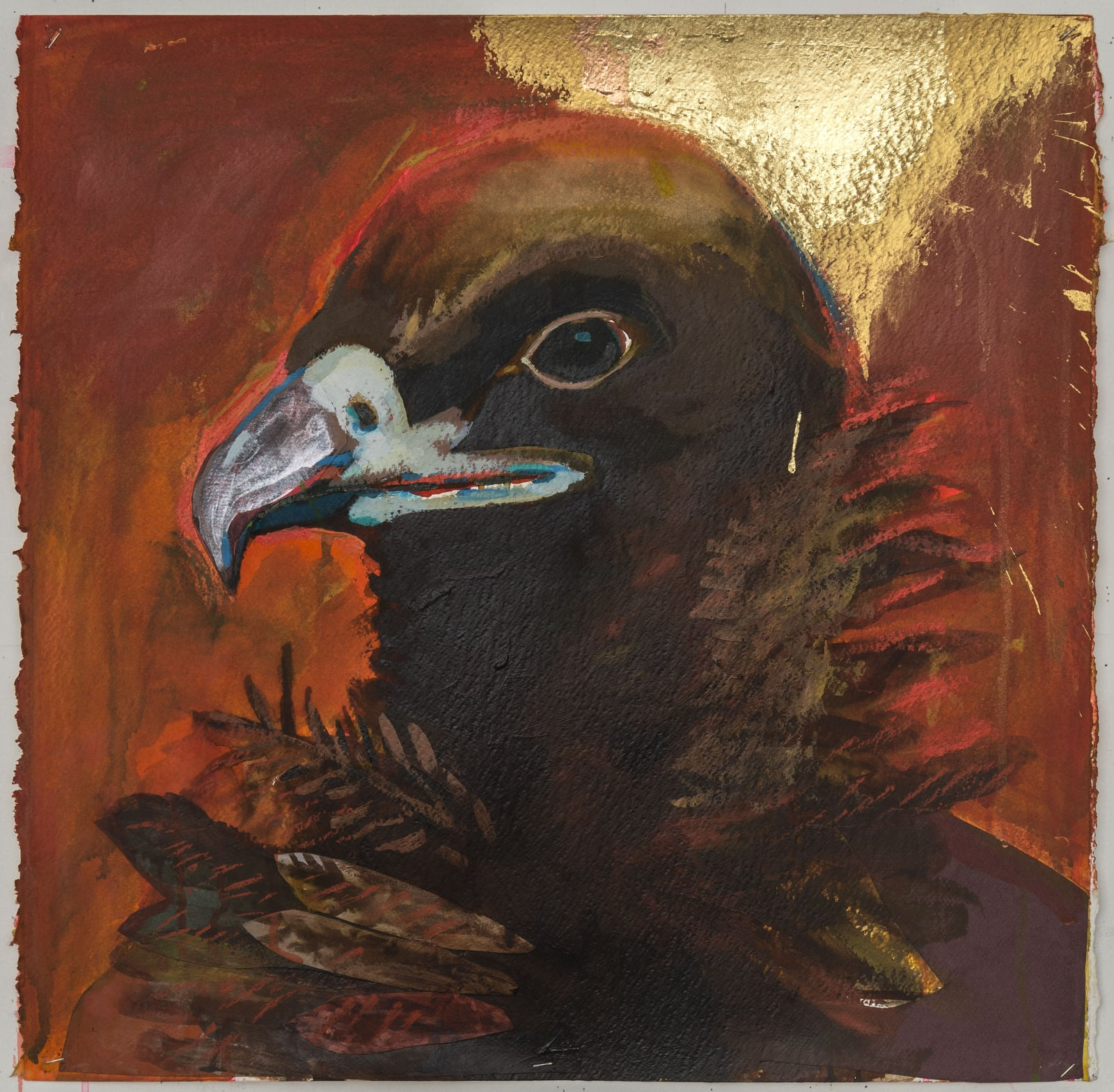 Karen Heagle, Untitled (Cinereous Vulture), 2018 acrylic, ink, collage, gold leaf, pastel on paper, 23 1/2 x 24 in