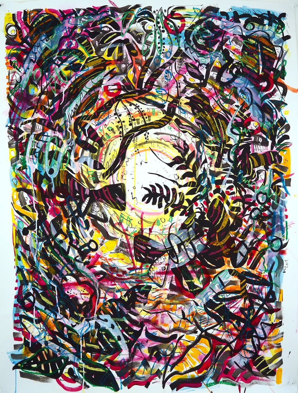 Jules Buck Jones, Cacophony, 2020 Watercolor, ink, pastel on paper, 50 x 38 in