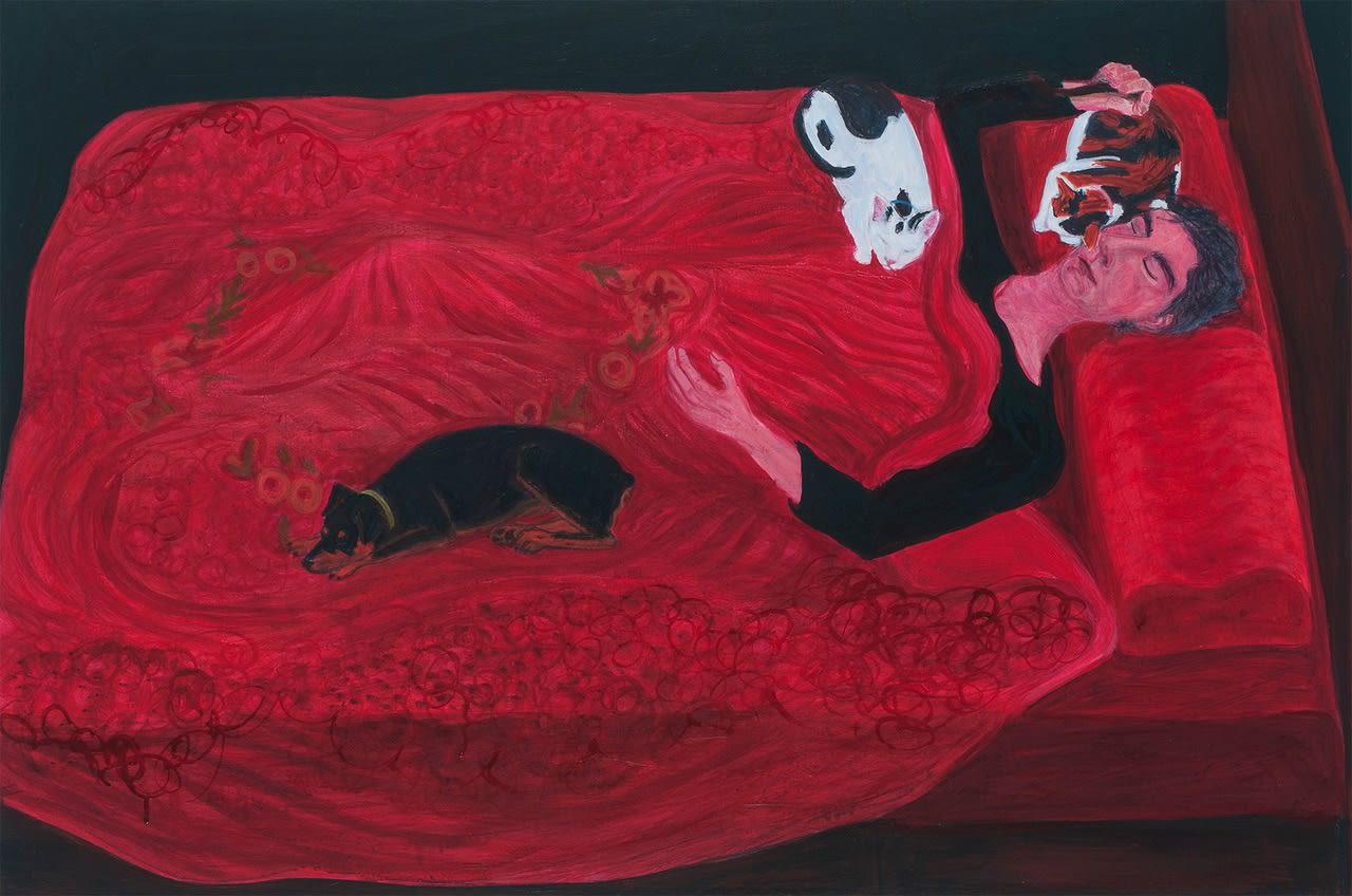 Sarah McEneaney, Sleep Fall 2016, 2017 acrylic on wood, 24 x 36 in