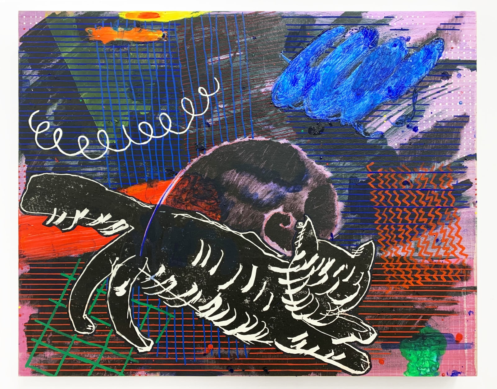 Chie Fueki, Healer Cat and Fibonnaci Sprial, 2020 Acrylic, Ink and Colored Pencil on Mulberry Paper on Panel, 16 x 20 in