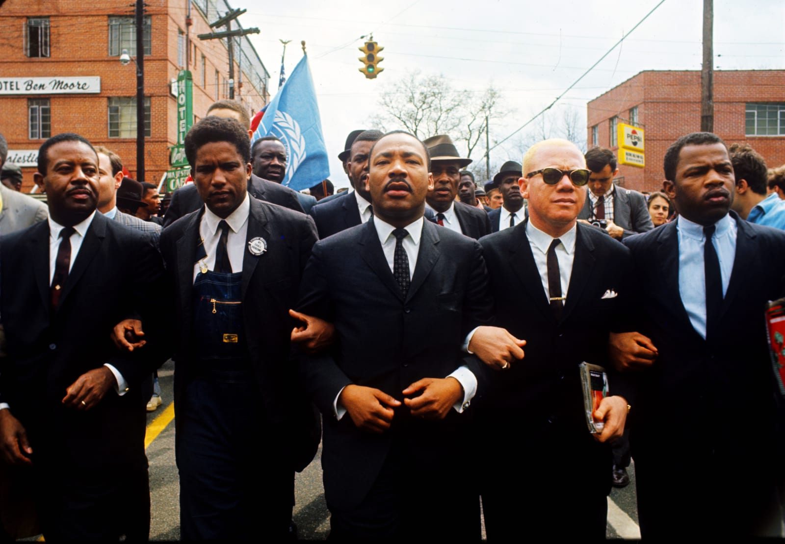 Steve Schapiro Martin Luther King with Group on Street, Montgomery, Alabama, 1965