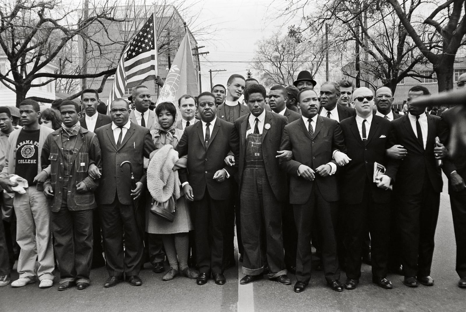 Steve Schapiro Martin Luther King Jr. and Group Enter Montgomery, Black Suits, 1965
