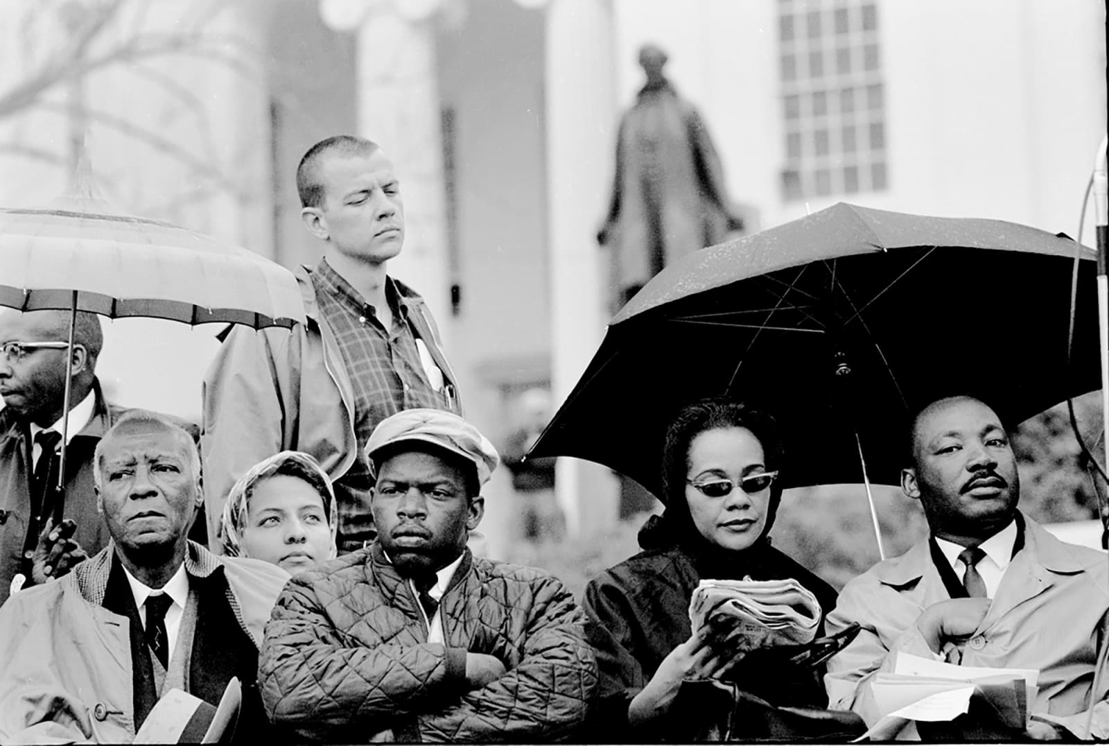 Steve Schapiro Philip Randolph, John Lewis, Coretta Scott King, and Martin Luther King on the Steps of Montgomery Capitol after the Selma March concluded, 1965