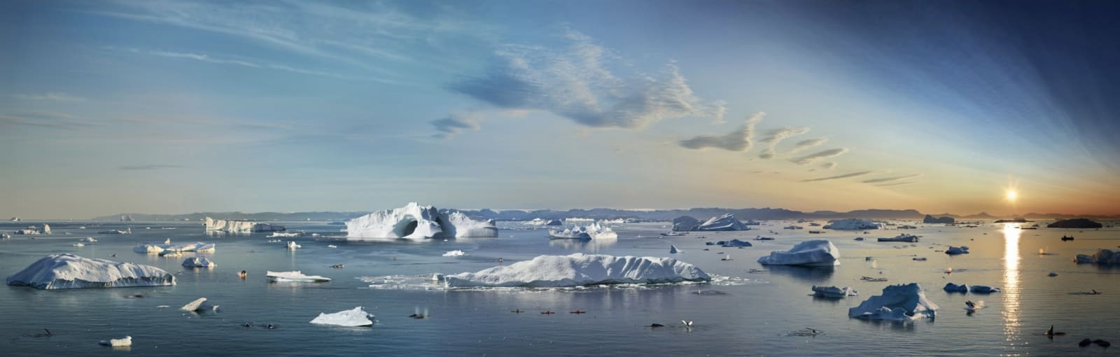 Stephen Wilkes The Great July Melt, Ilulissat, Greenland, Day to Night, 2019 Signed on label verso 19 x 60 inch archival pigment print Edition of 20 26 x 81 3/4 inch archival pigment print Edition of 15 38 x 119 inch archival pigment print Edition of 12