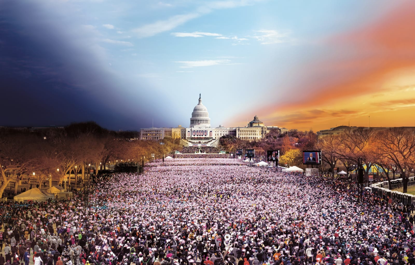 Stephen Wilkes Presidential Inauguration, Washington D.C., Day to Night, 2013 Signed on label verso 25 1/2 x 40 inch archival pigment print Edition of 50 36 x 56 1/2 inch archival pigment print Edition of 30 48 x 75 1/2 inch archival pigment print Edition of 25